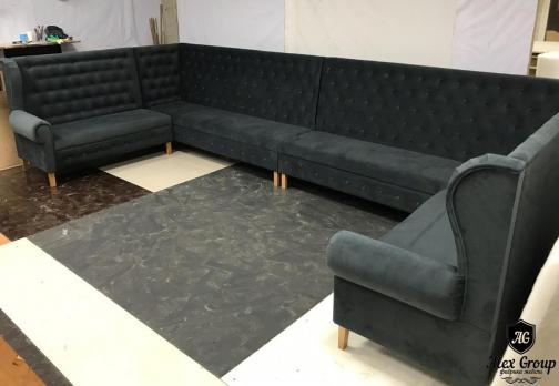 диван для кафе и ресторана в стяжке черный ткань